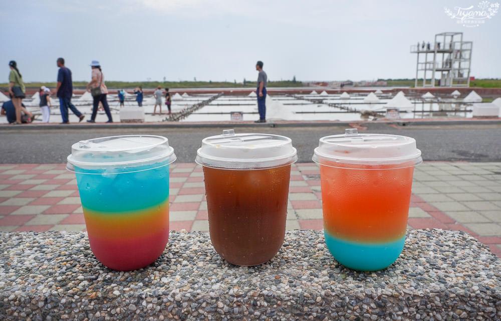 台南鹽田|井仔腳瓦盤鹽田,台灣36秘景之一,夕陽漸層飲品、鹽田體驗、採水車 @緹雅瑪 美食旅遊趣